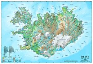 Íslandskort - veggmynd